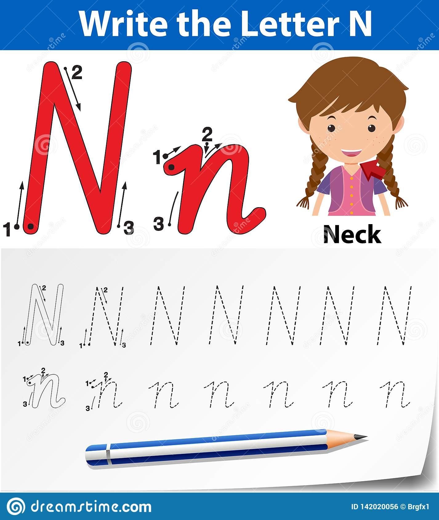 Letter N Tracing Alphabet Worksheets Stock Vector
