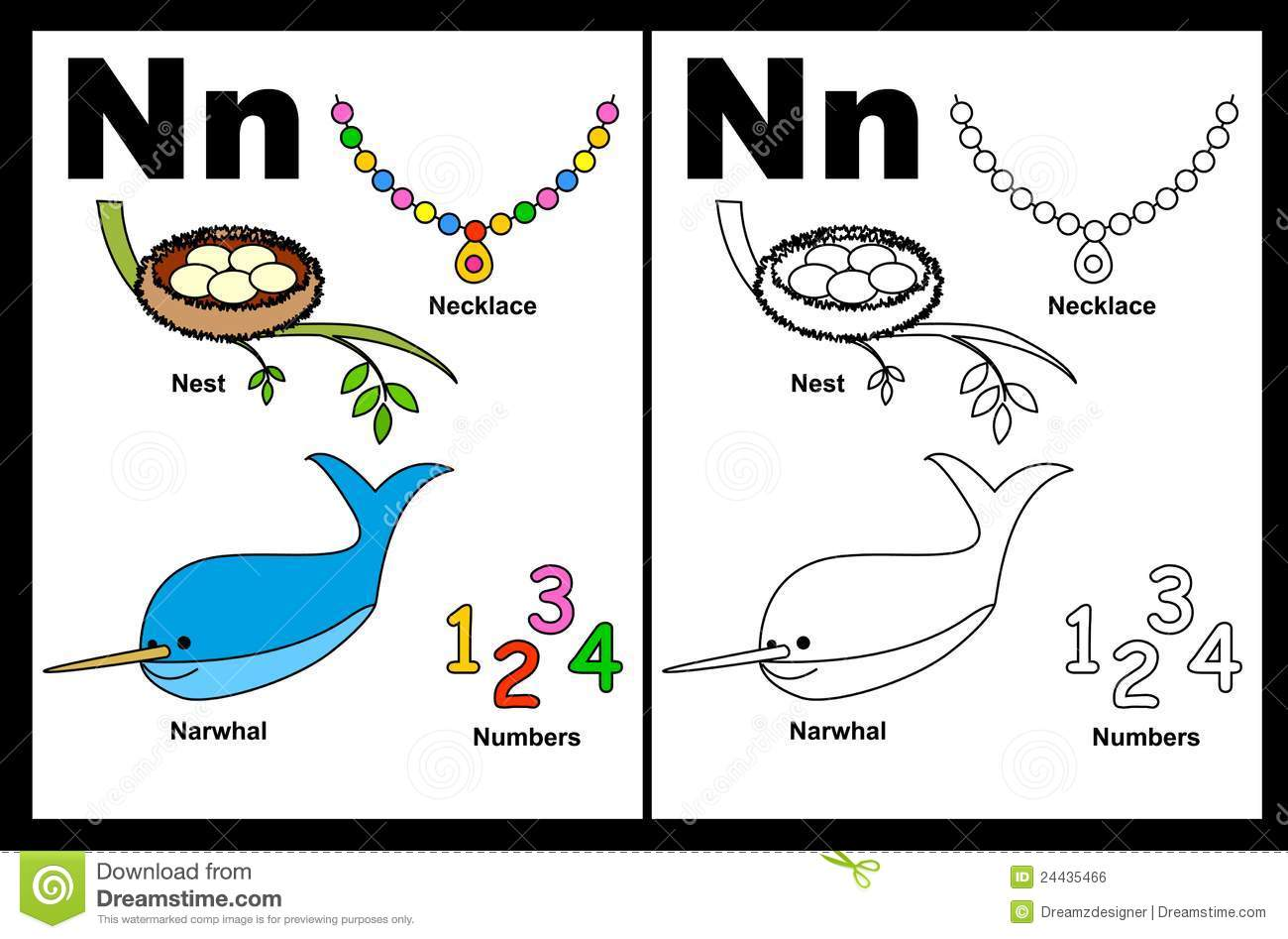 Letter N Worksheet Stock Vector Illustration Of Kids