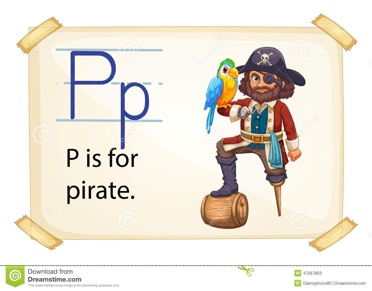 A Letter P For Pirate Stock Vector