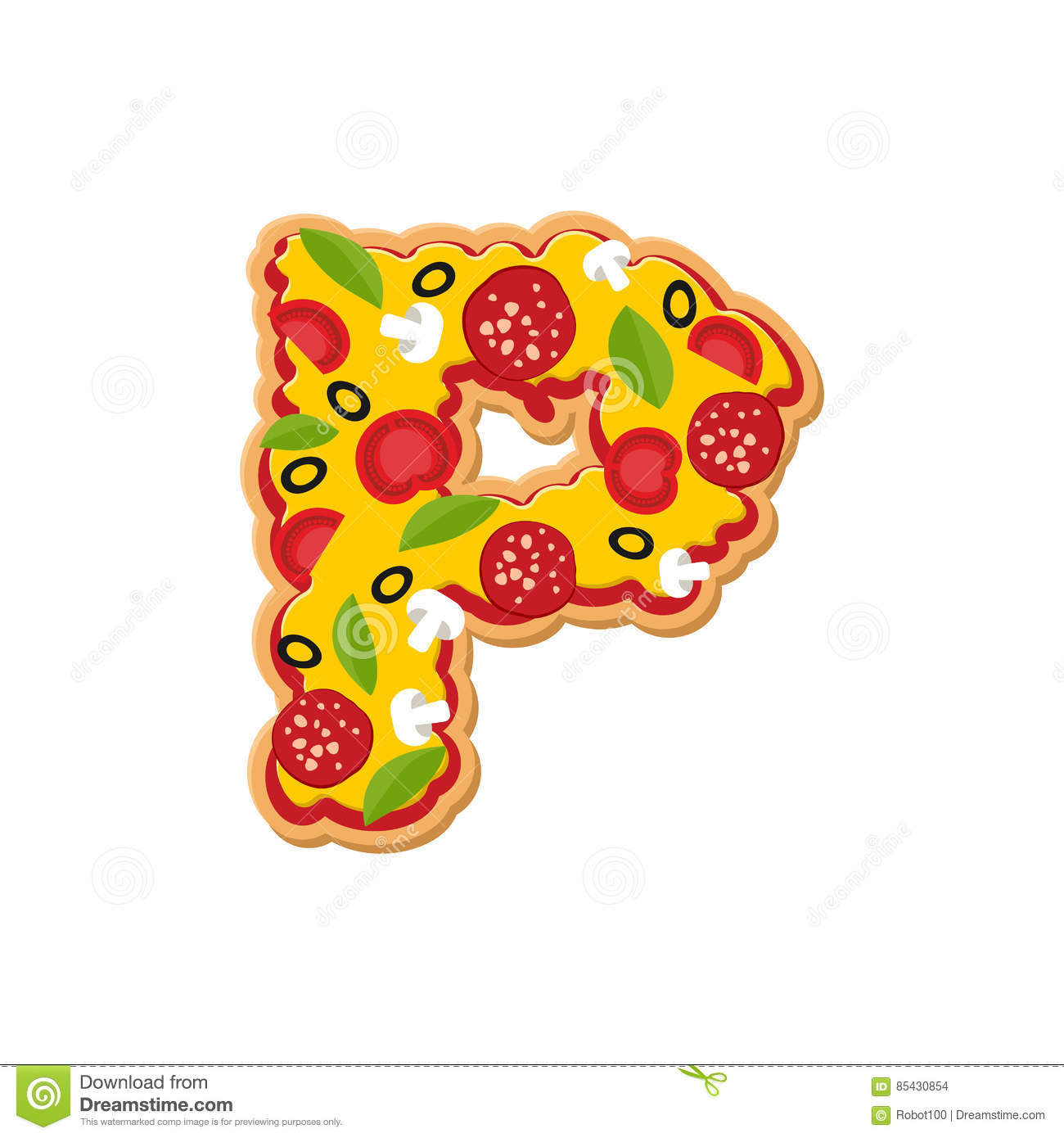 Letter P Pizza Font Italian Meal Alphabet Lettring Fast