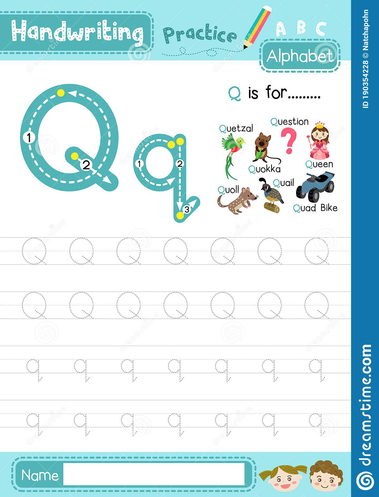 Letter Q Uppercase And Lowercase Tracing Practice