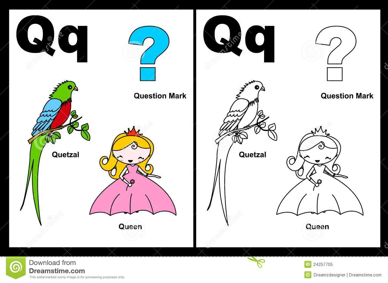 Letter Q Worksheet Stock Vector Illustration Of Education