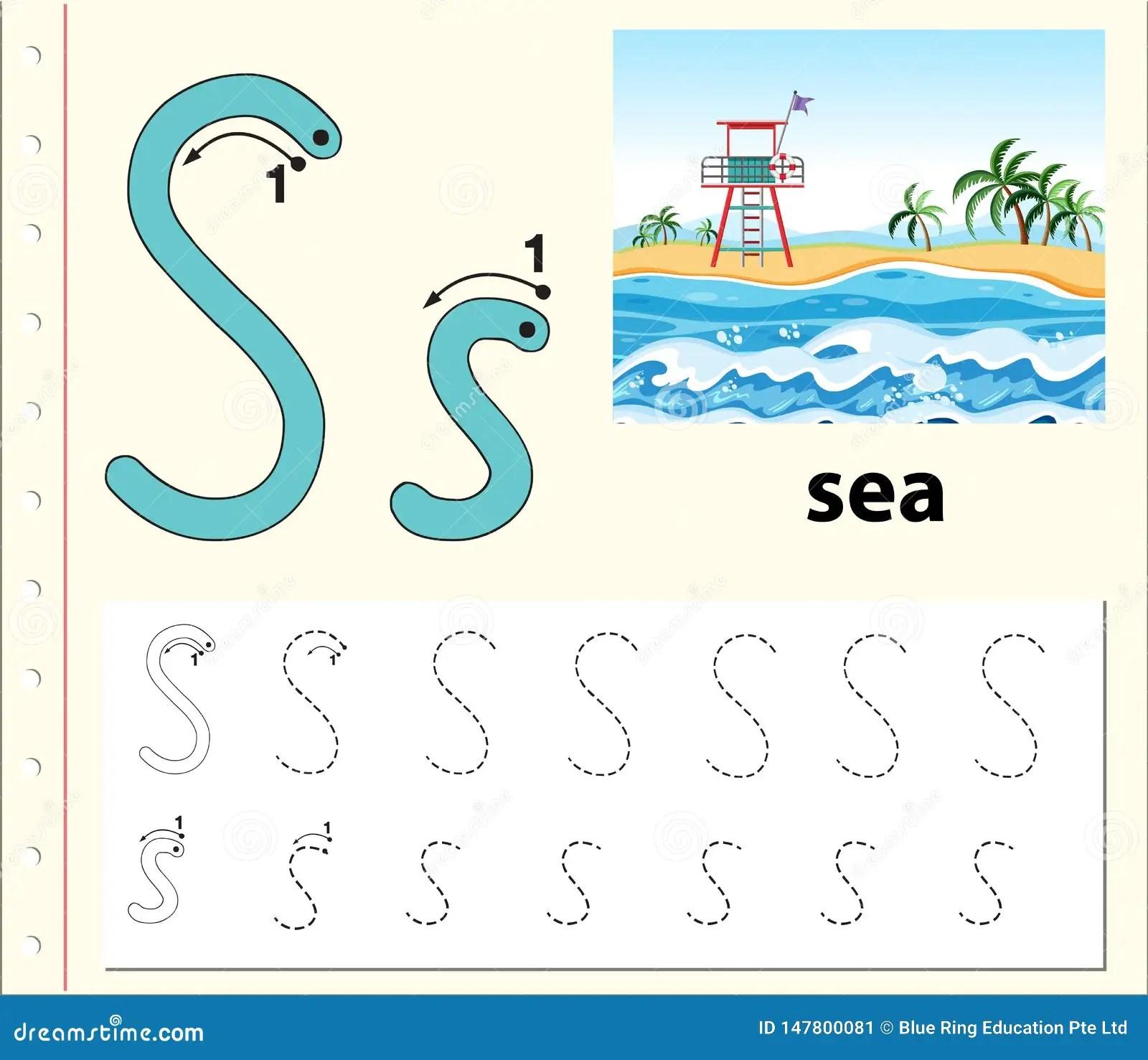 Letter S Tracing Alphabet Worksheets Stock Illustration