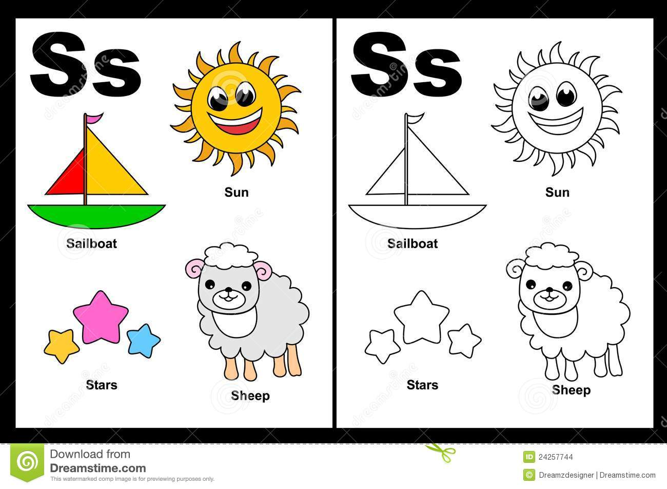Letter S Worksheet Stock Vector Illustration Of Child