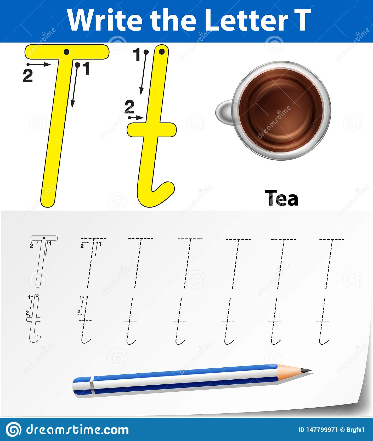 Letter T Tracing Alphabet Worksheets Stock Vector