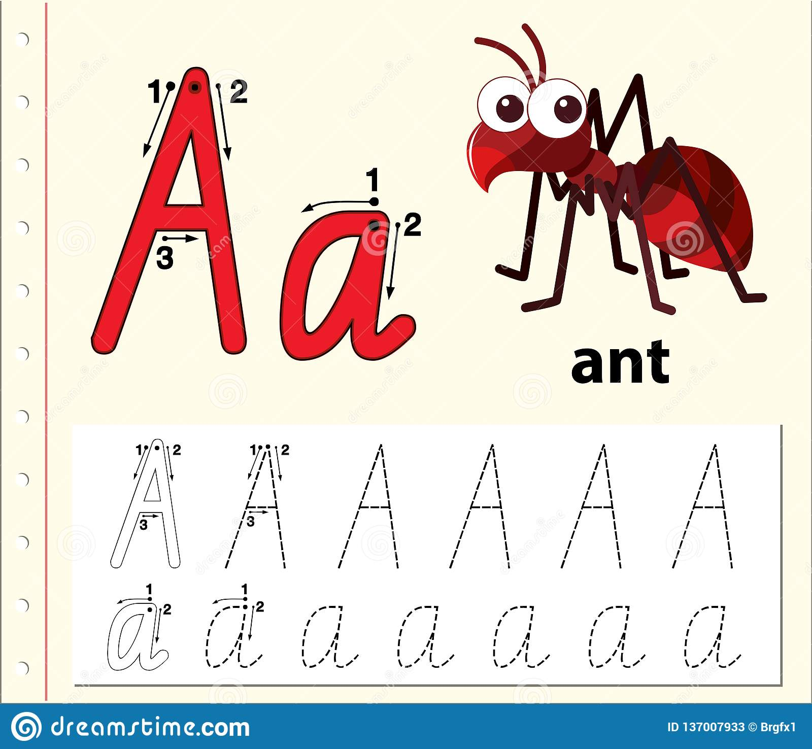 Letter A Tracing Alphabet Worksheets Stock Vector