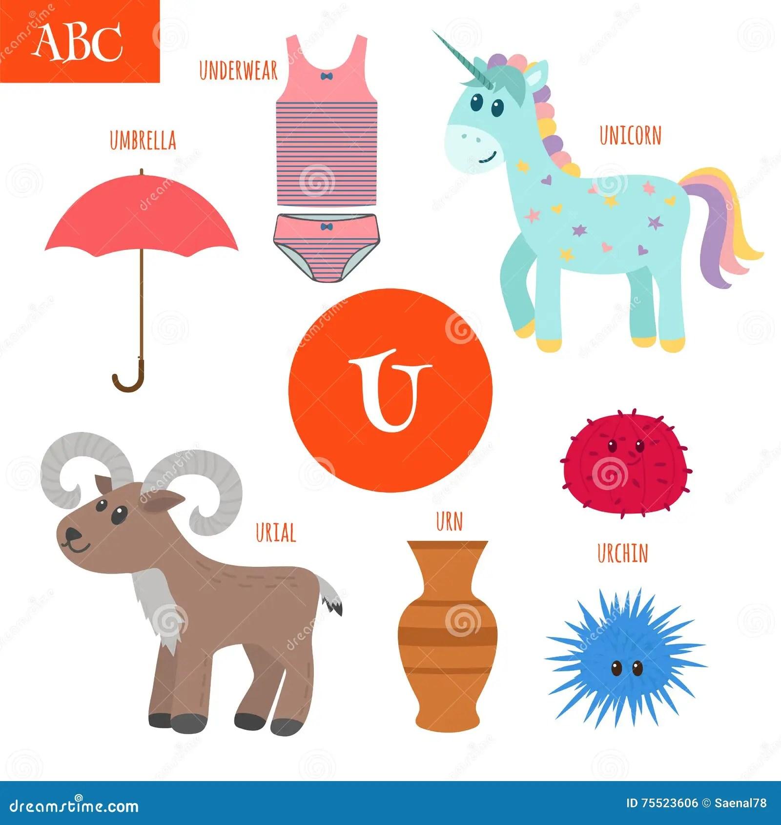 Letter U Cartoon Alphabet For Children Unicorn Umbrella
