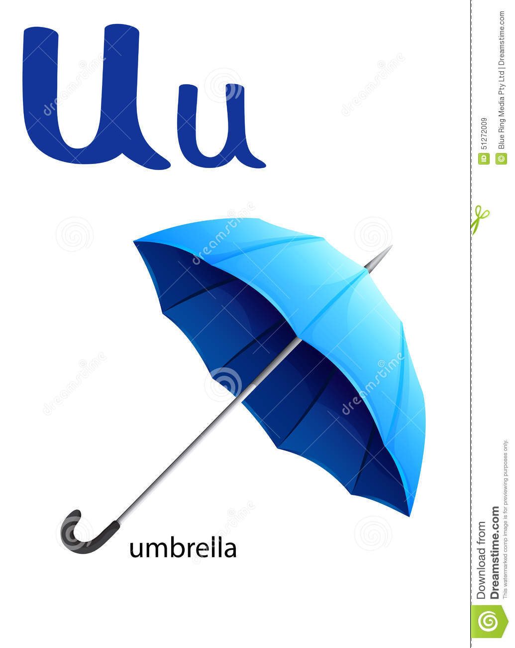 Letter U For Umbrella Stock Vector