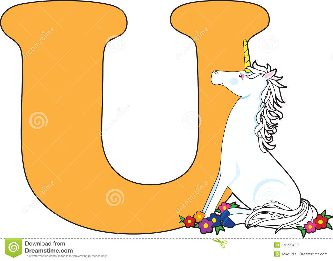 Letter U With A Unicorn Stock Photos