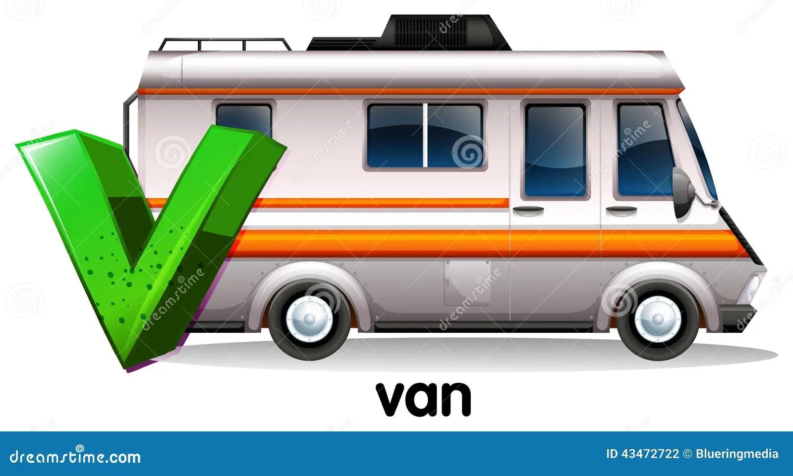 A Letter V For Van Stock Vector