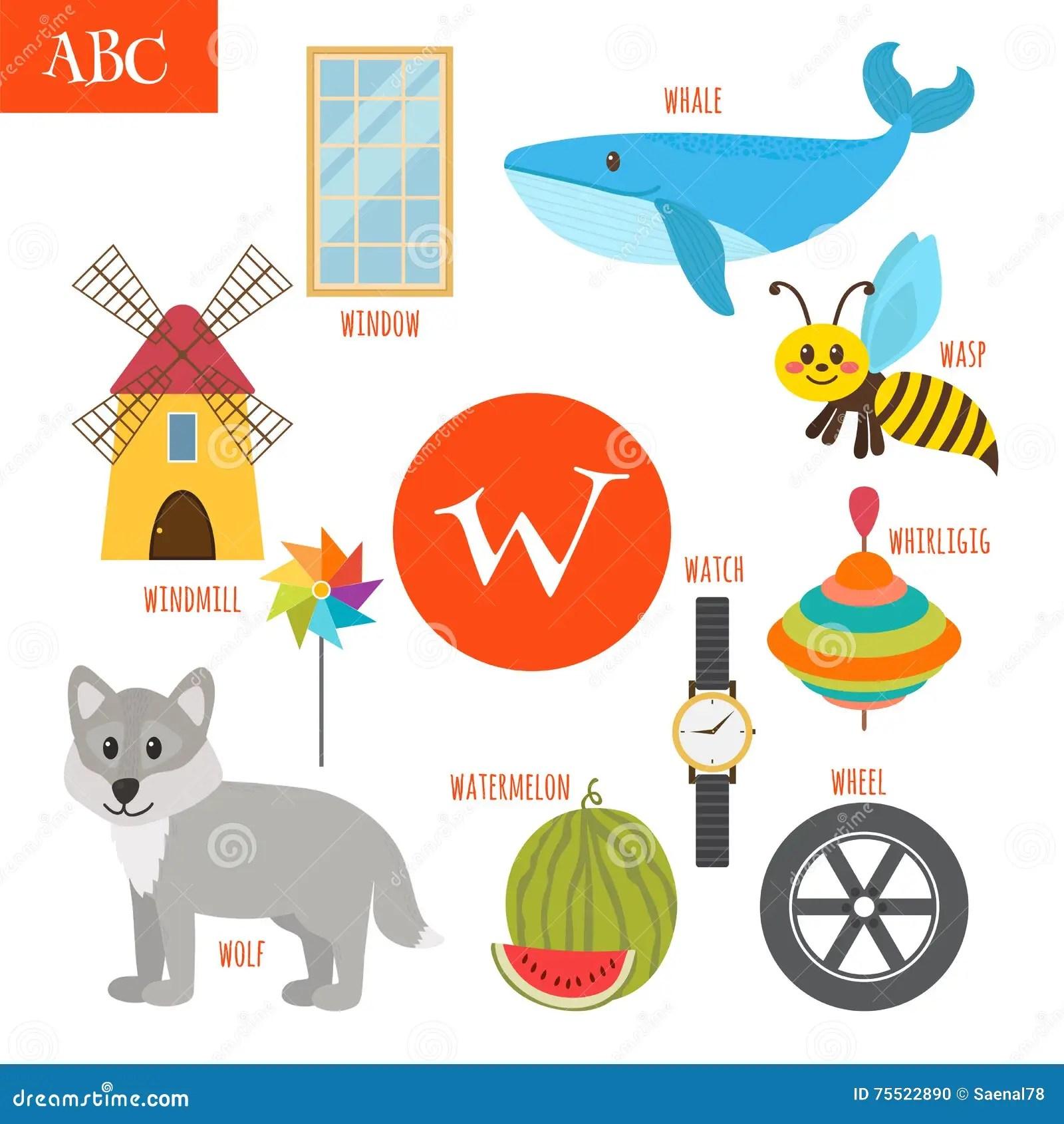 Letter W Cartoon Alphabet For Children Watermelon Whale Wolf Stock Vector