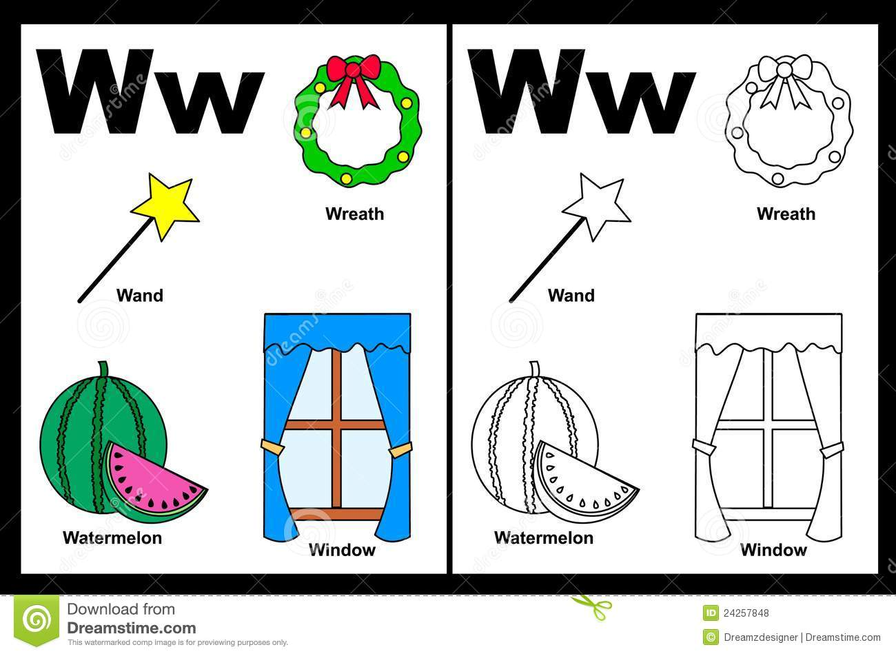 Letter W Worksheet Stock Vector Illustration Of Capital