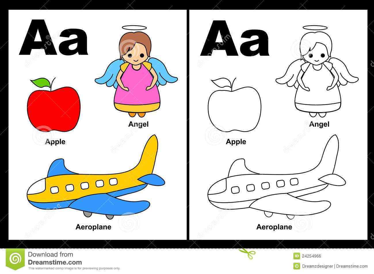 Letter A Worksheet Stock Vector Image Of Coloring