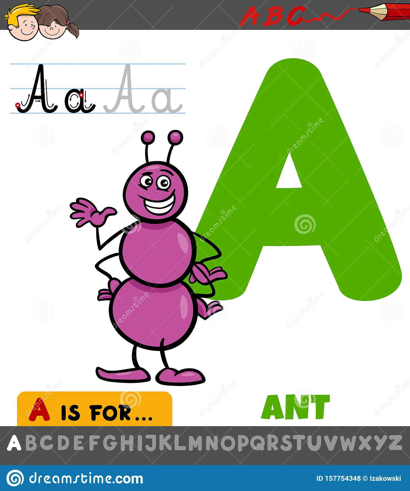 Letter A Worksheet With Cartoon Ant Stock Vector