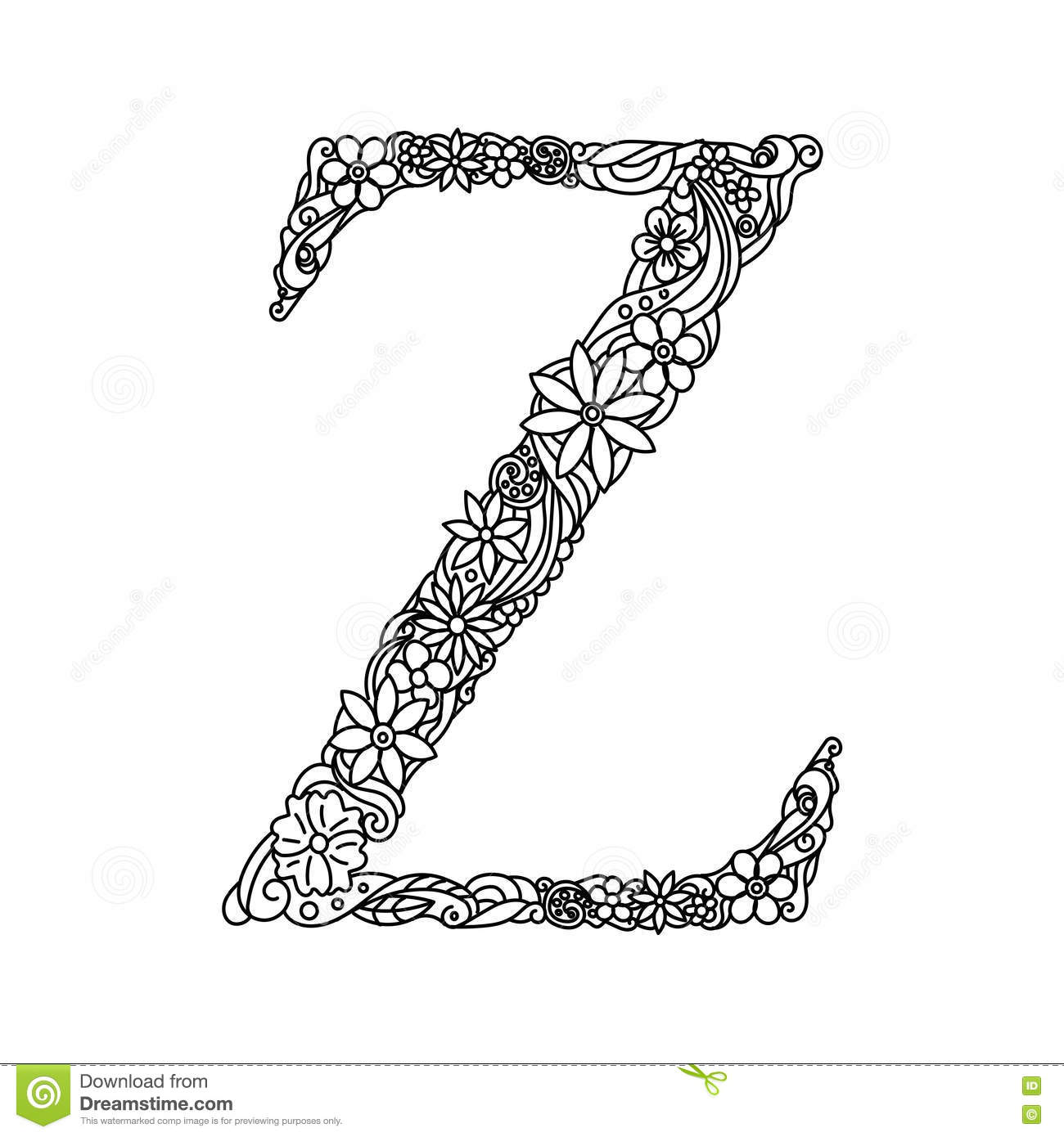 Letter Z Coloring Book For Adults Vector Stock Vector Image