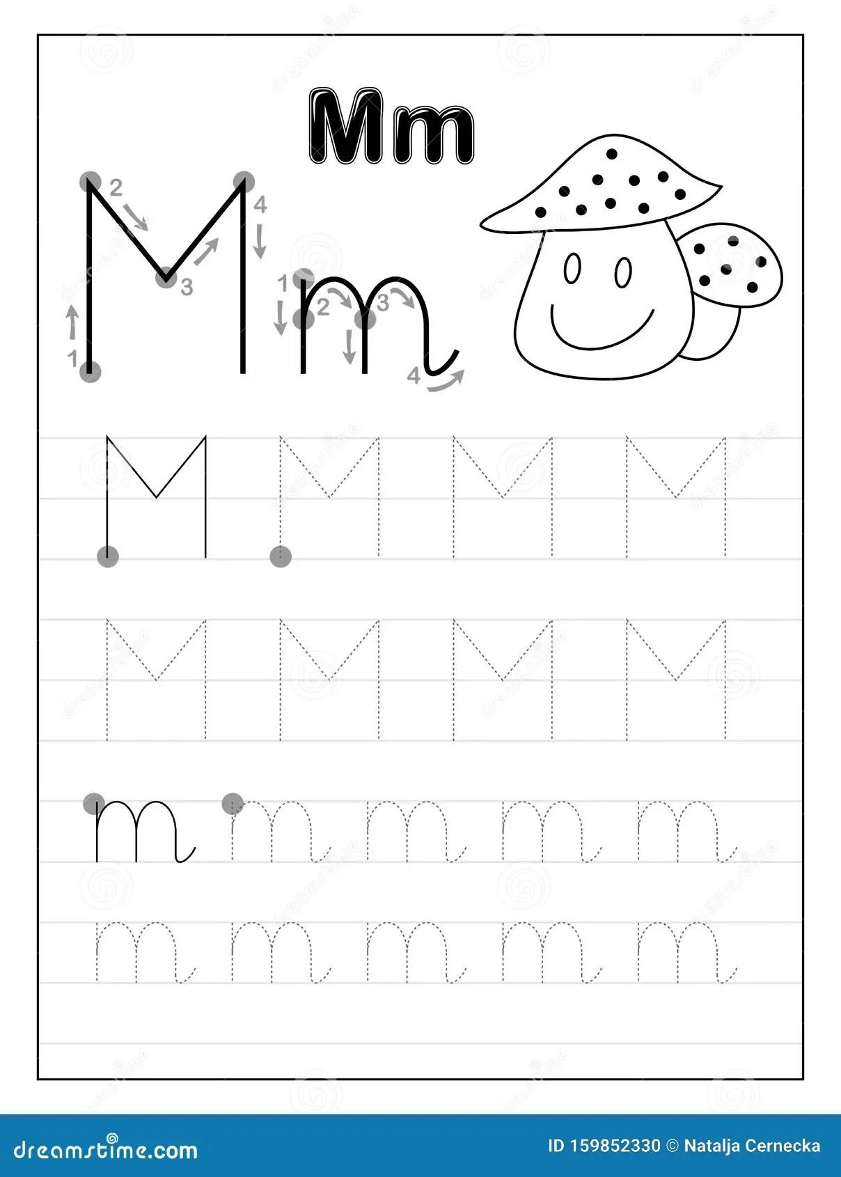 Lettera M Dell Alfabeto Di Traccia Pagine In Bianco E Nero