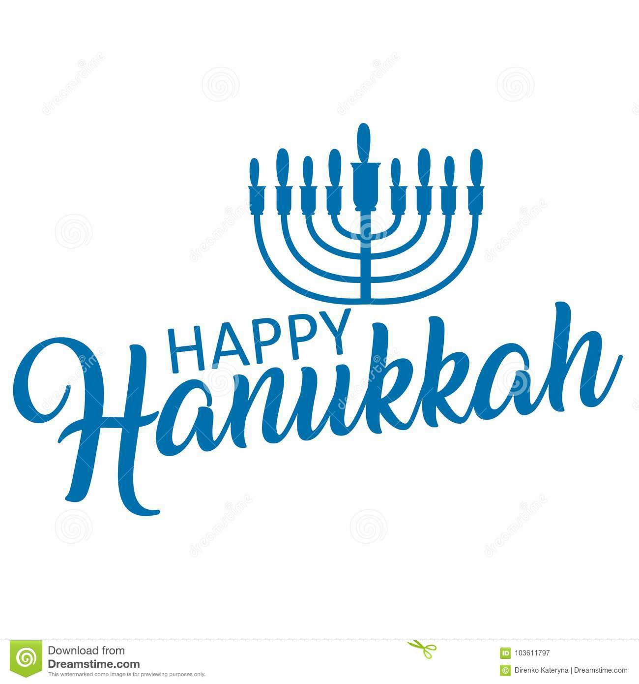 Lettering Of Happy Hanukkah Logo Template Stock