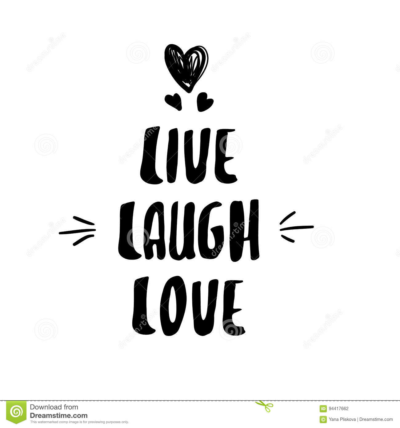 Lettering Modern Calligraphy Live Laugh Love Stock Vector