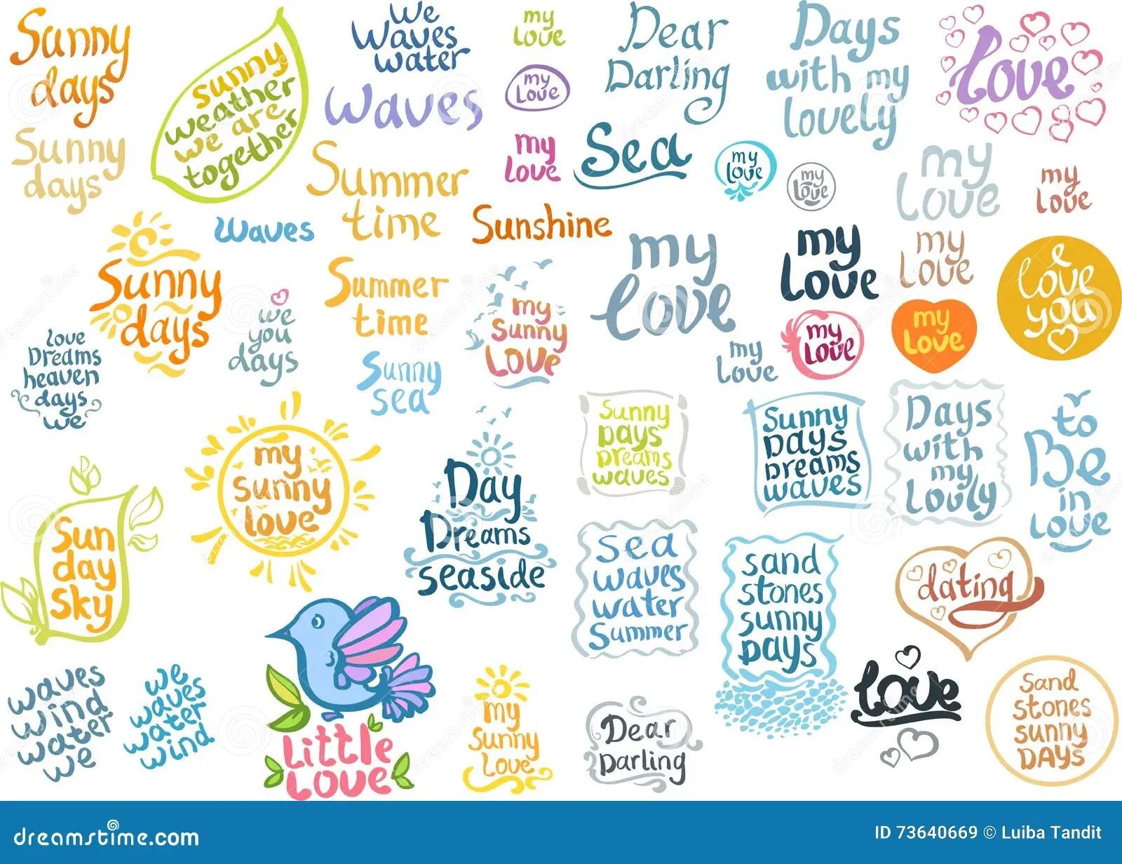 Lettering Set Sunny Love Summer Stock Vector