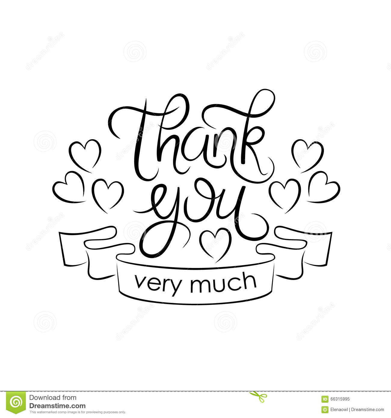 Lettering Thank You Very Much On White Background Stock