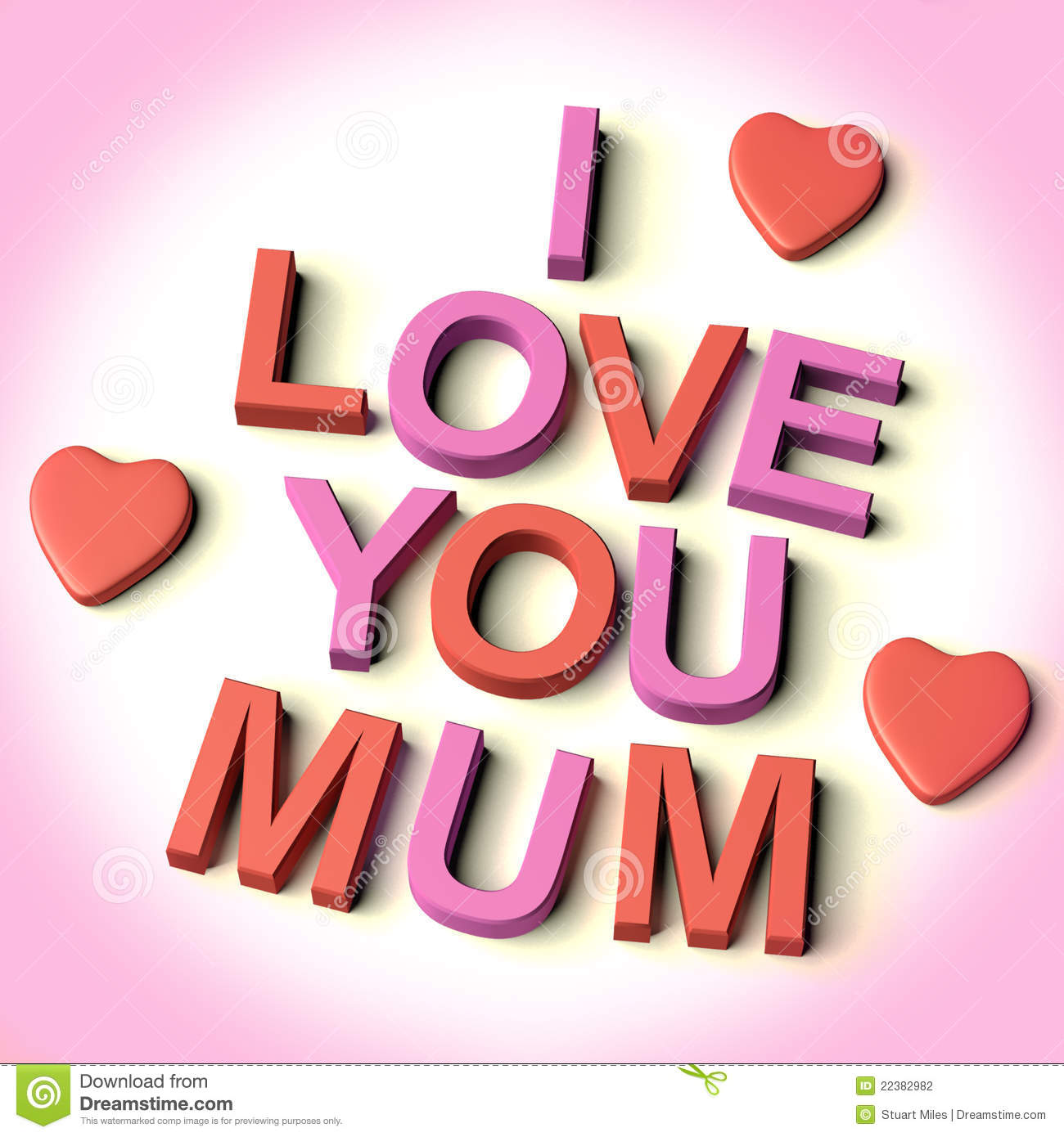 Letters Spelling I Love You Mum With Hearts Stock