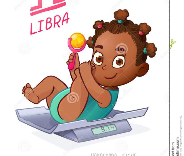 Libra Horoscope Sign African American Baby Girl Lies On The Scales And Playing Rattle