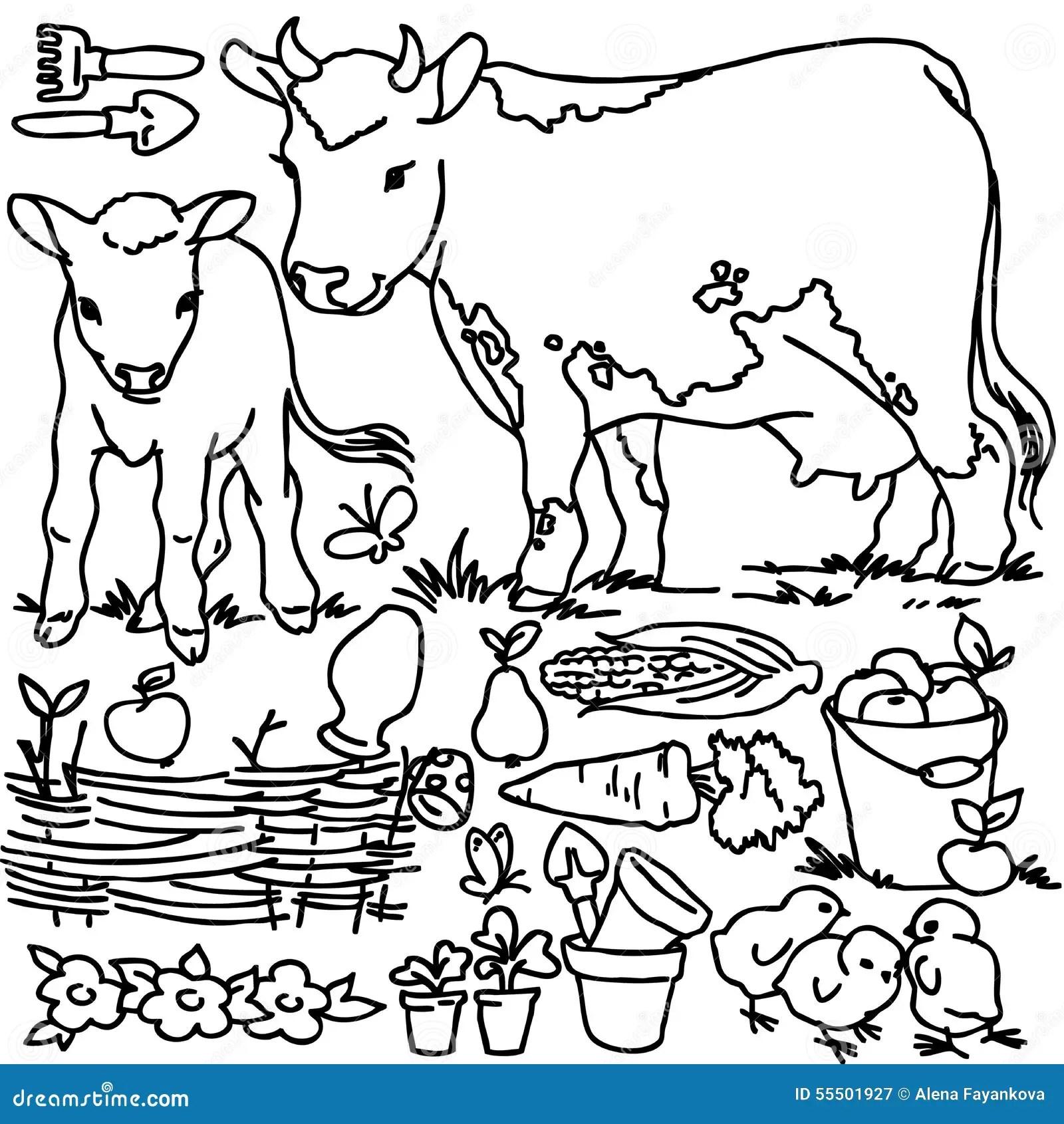 Libro Da Colorare Animali Da Allevamento Del Fumetto
