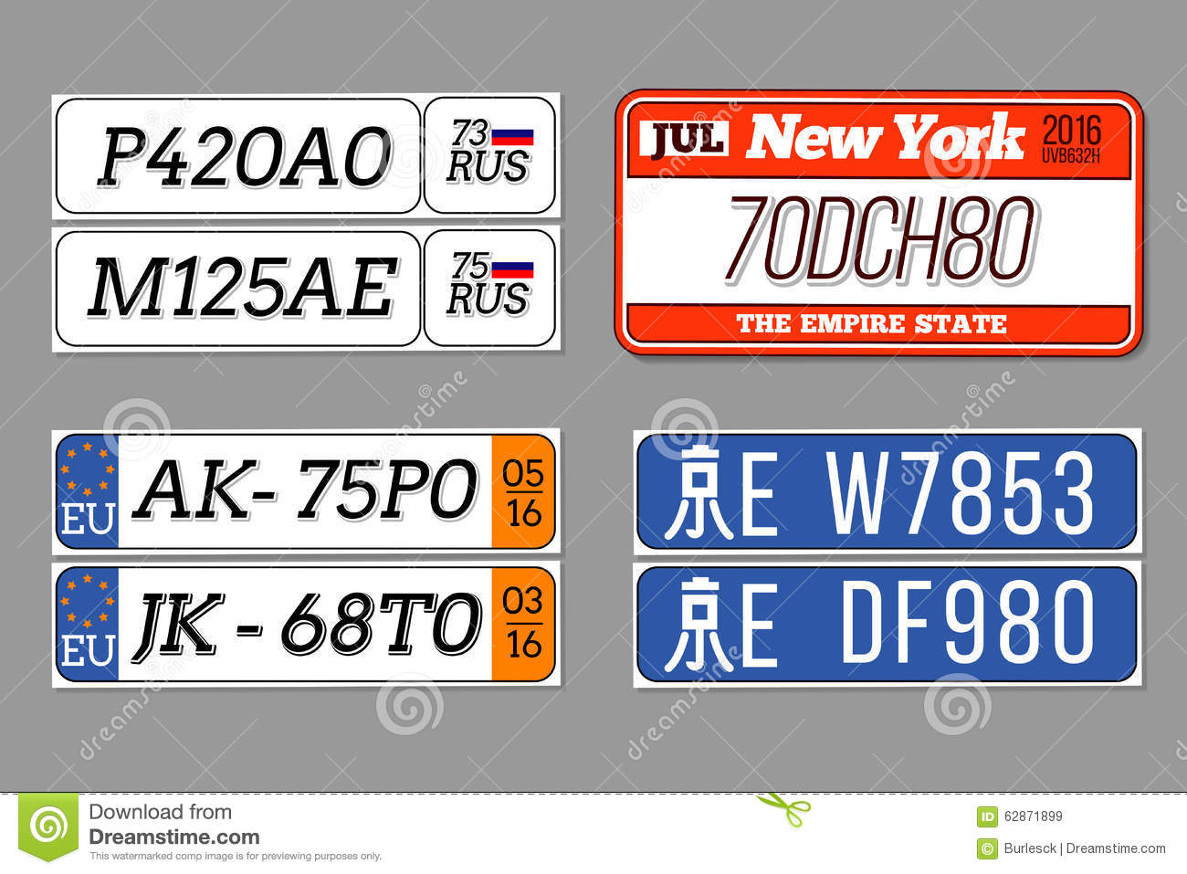License Car Number Plates Vector Set Usa Stock Vector