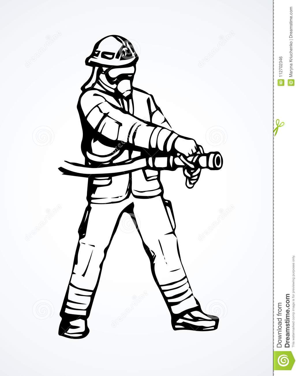 Firefighter Vector Drawing Stock Illustration