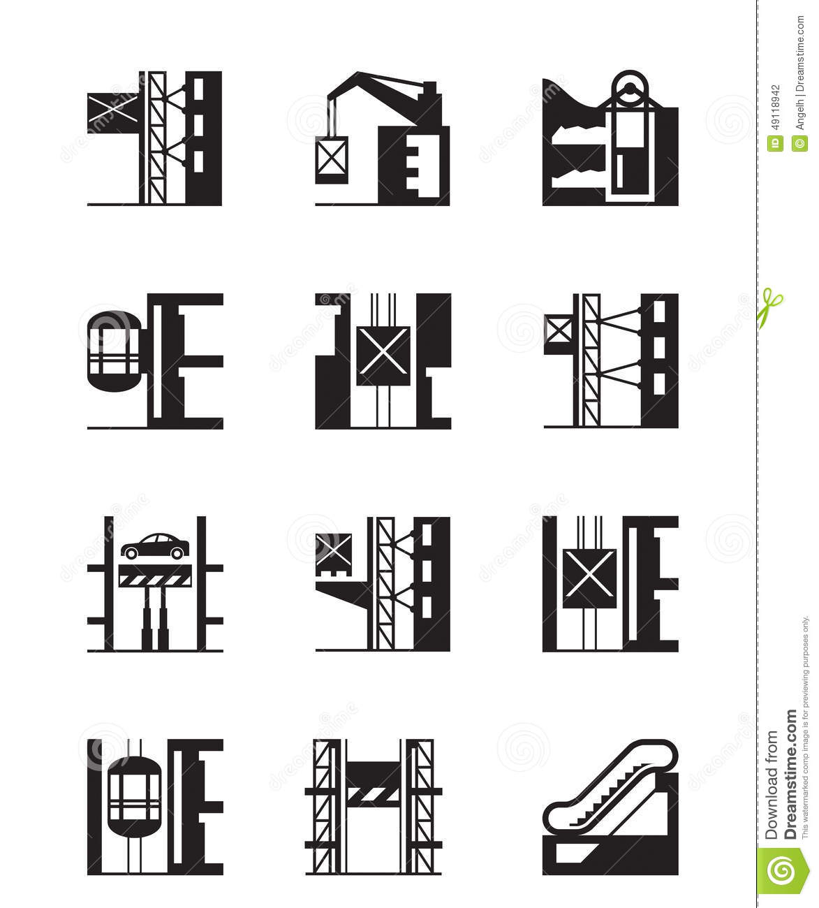 Lifts And Elevators Icon Set Stock Vector
