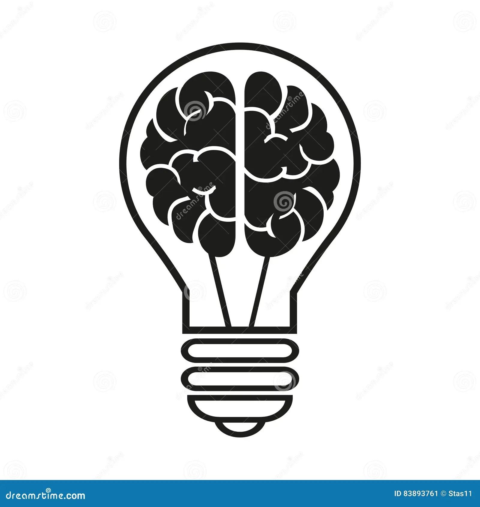 Brain With Bulb Icon Vector Illustration