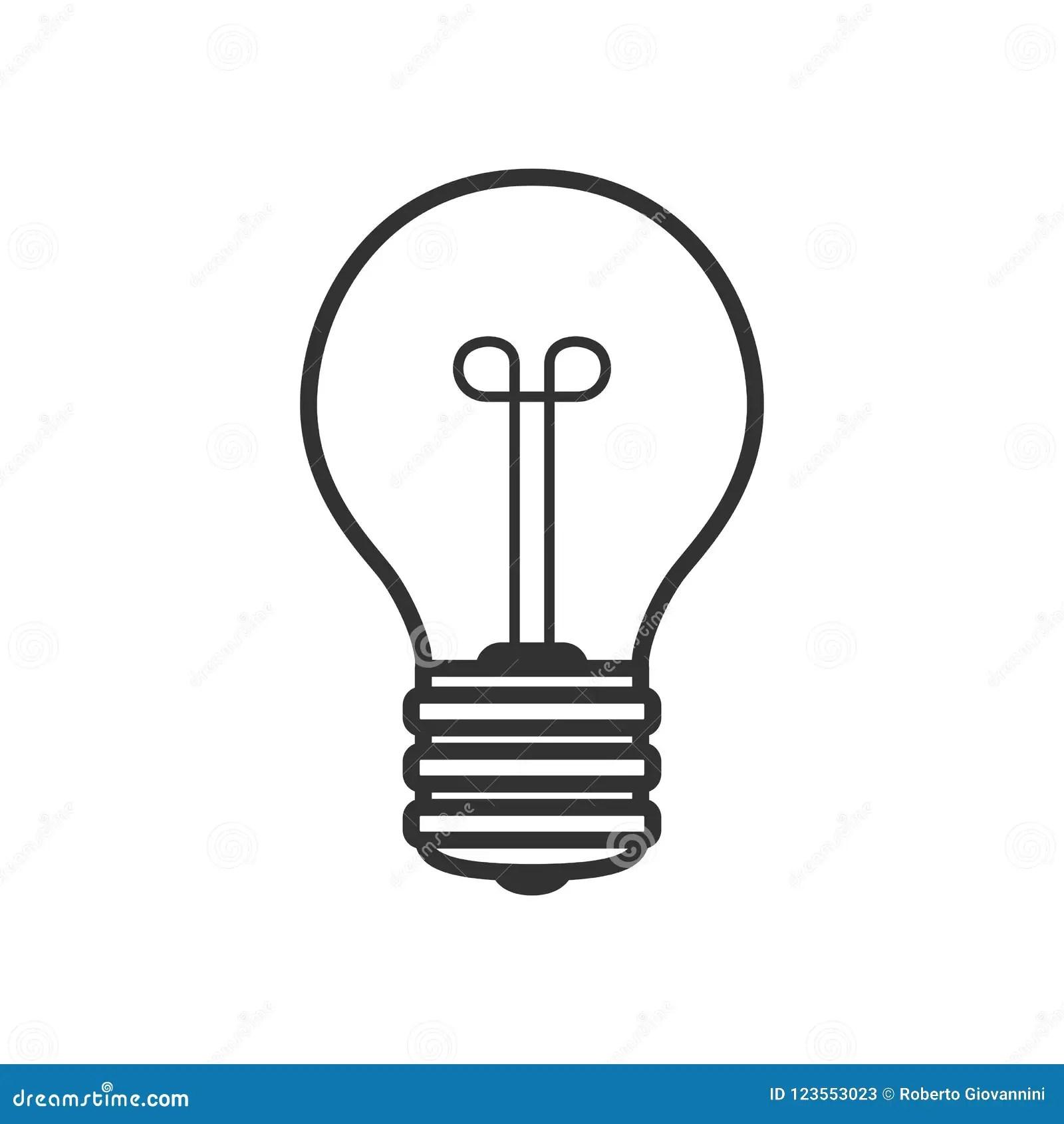 Light Bulb Outline Flat Icon On White Stock Vector