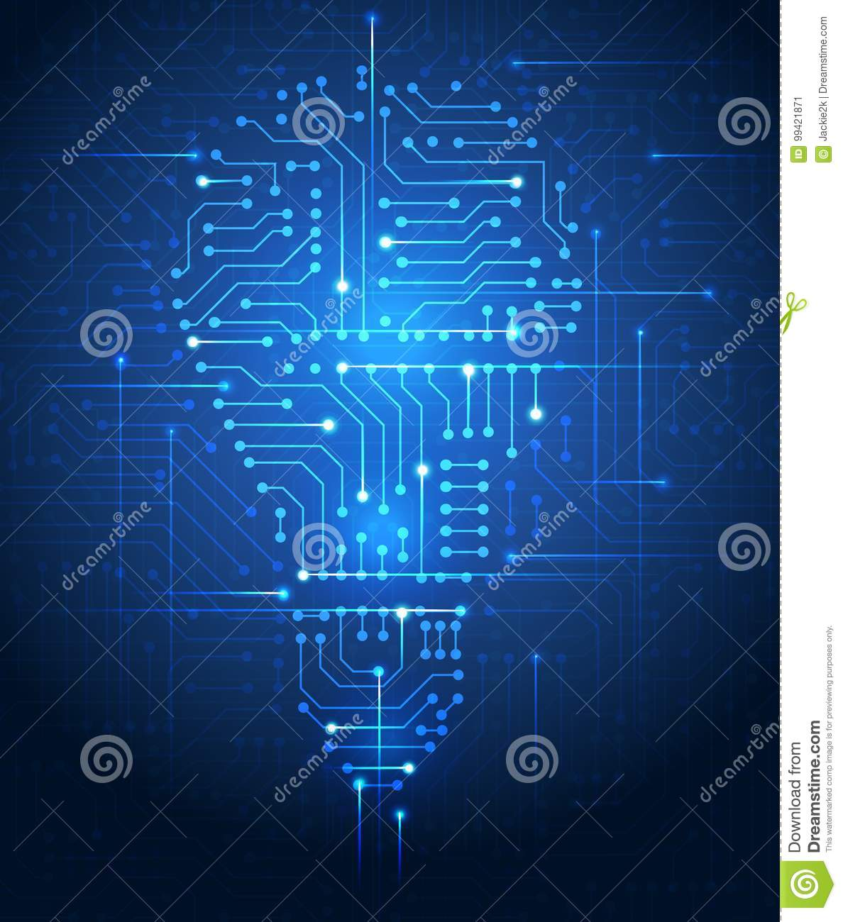 Light Bulb Silhouette On Circuit Board Background Stock