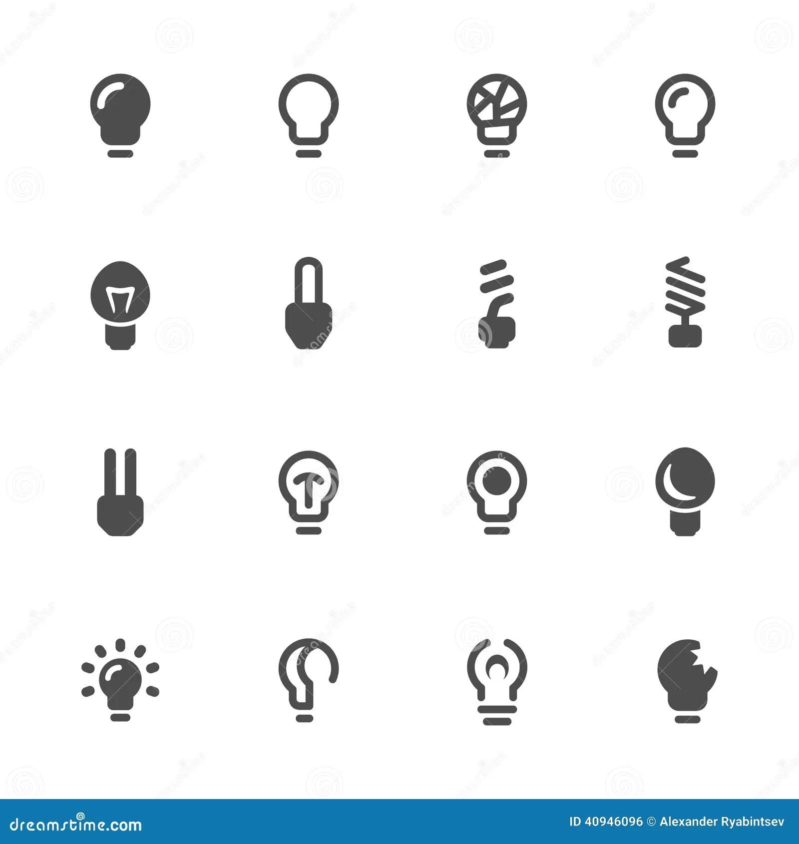 Light Bulbs Bulb Icon Set Stock Vector Illustration Of
