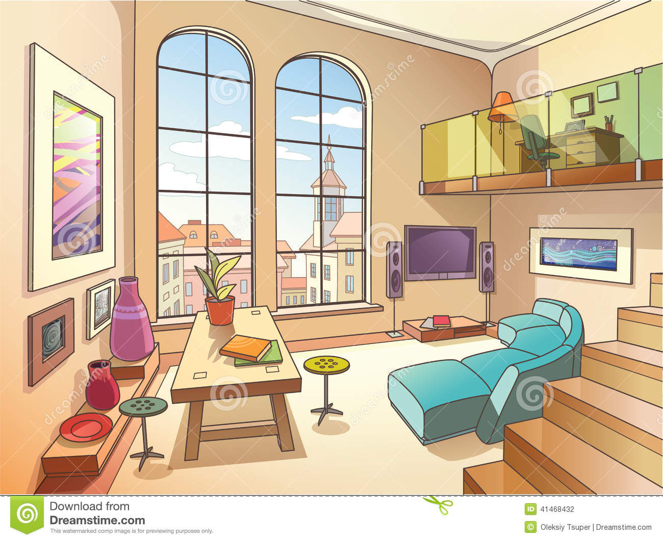 Light Living Room With A Mezzanine Stock Vector