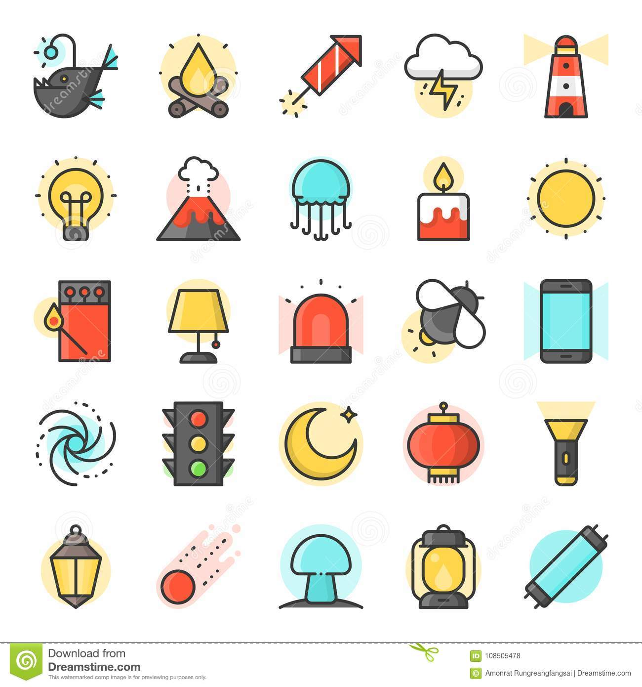 Light Source From Natural And Daily Life Icon Stock Vector