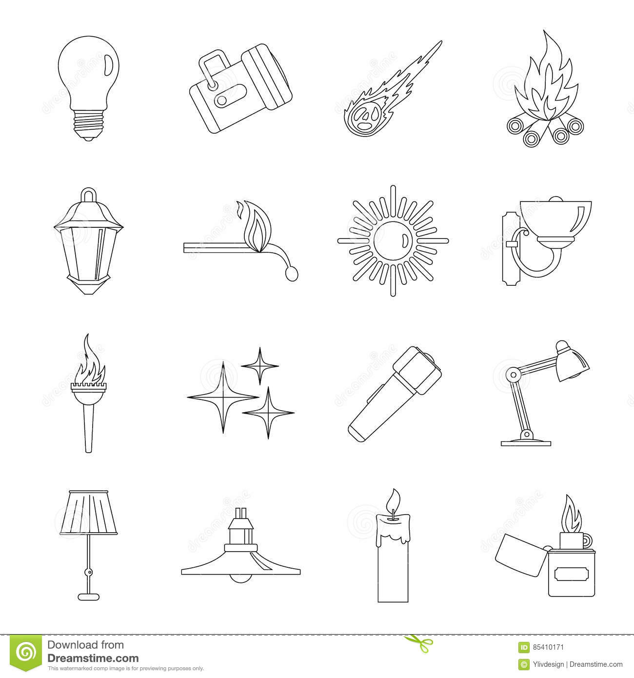 Light Source Symbols Icons Set Outline Style Stock Vector