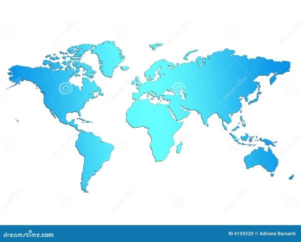 Lightblue World Map stock illustration. Image of white ...