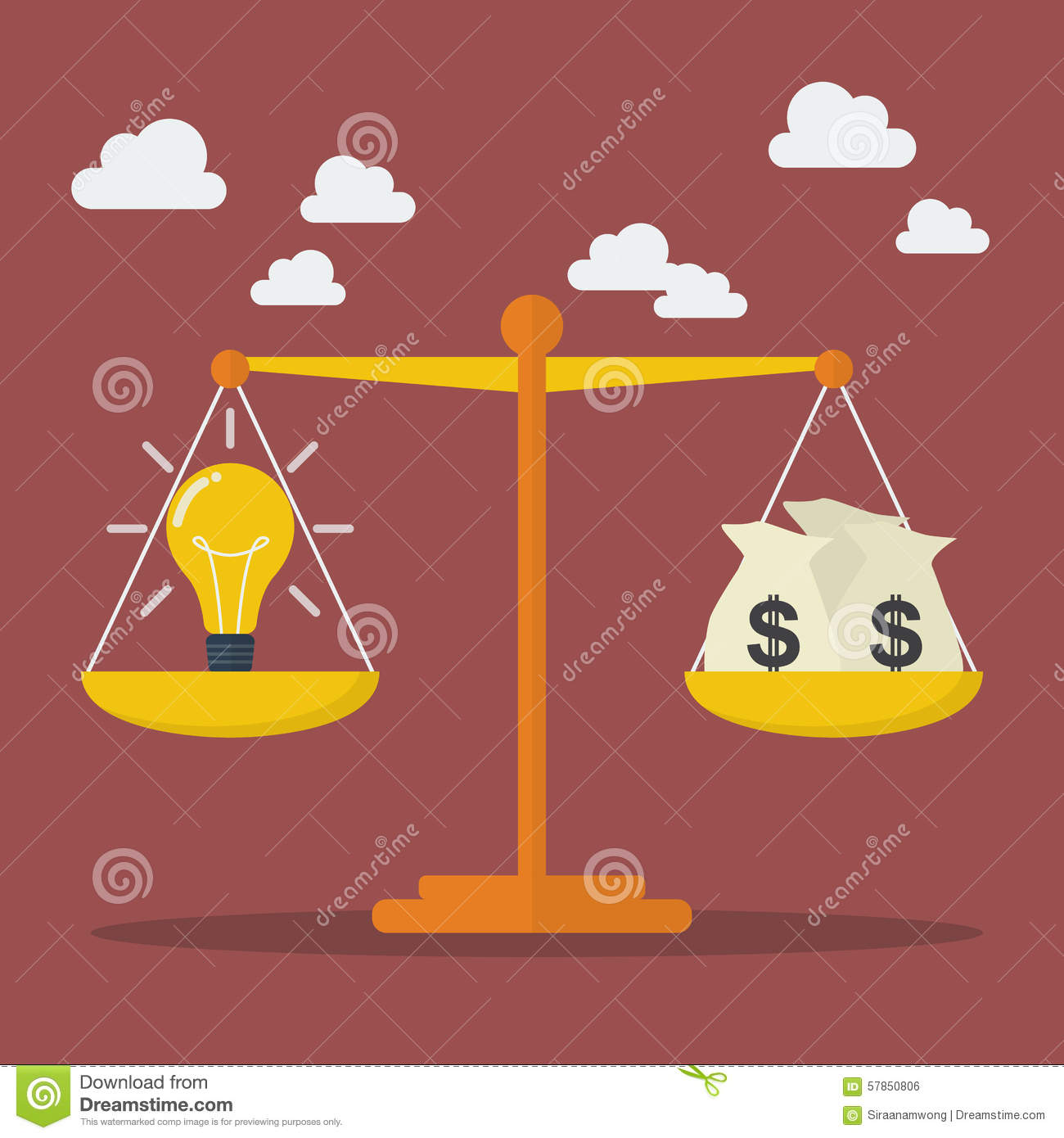 Lightbulb Ideas And Money Balance On The Scale Stock