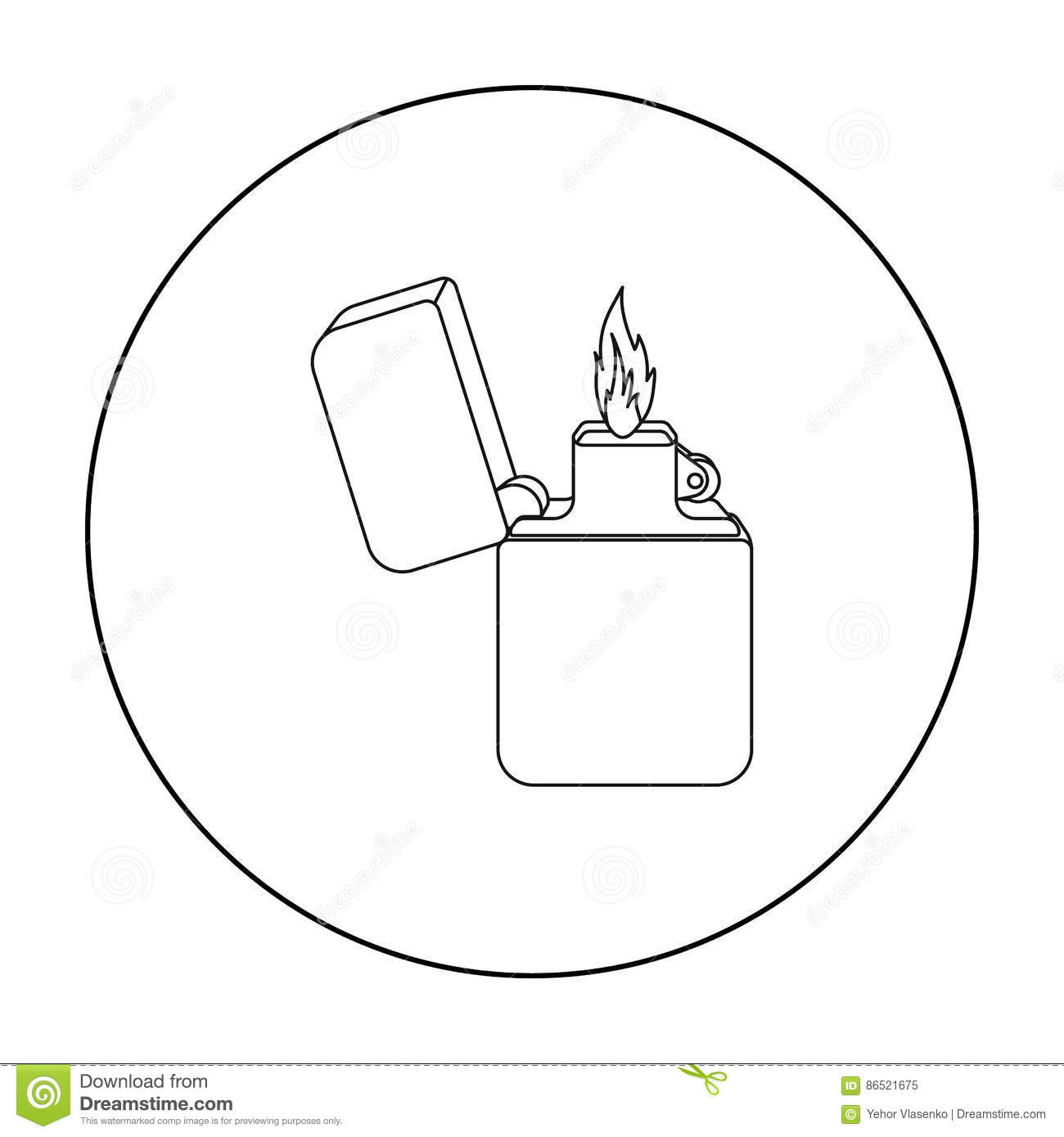 Lighter Icon In Outline Style Isolated On White Background