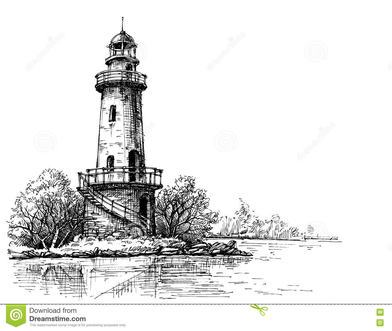 Lighthouse Pencil Drawing Stock Vector Illustration Of