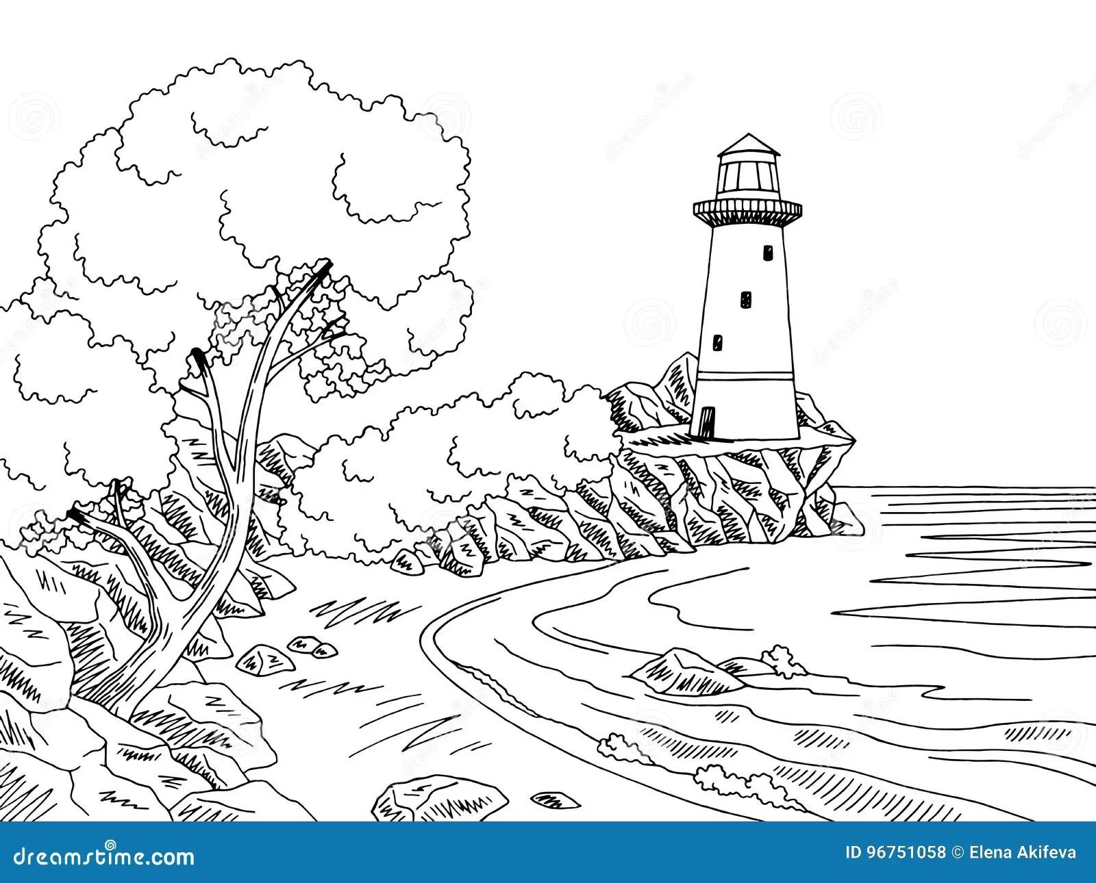 Lighthouse Sea Coast Graphic Black White Landscape Sketch