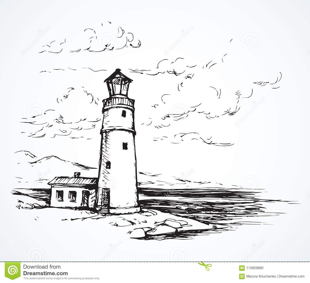Lighthouse Vector Drawing Stock Vector Illustration Of