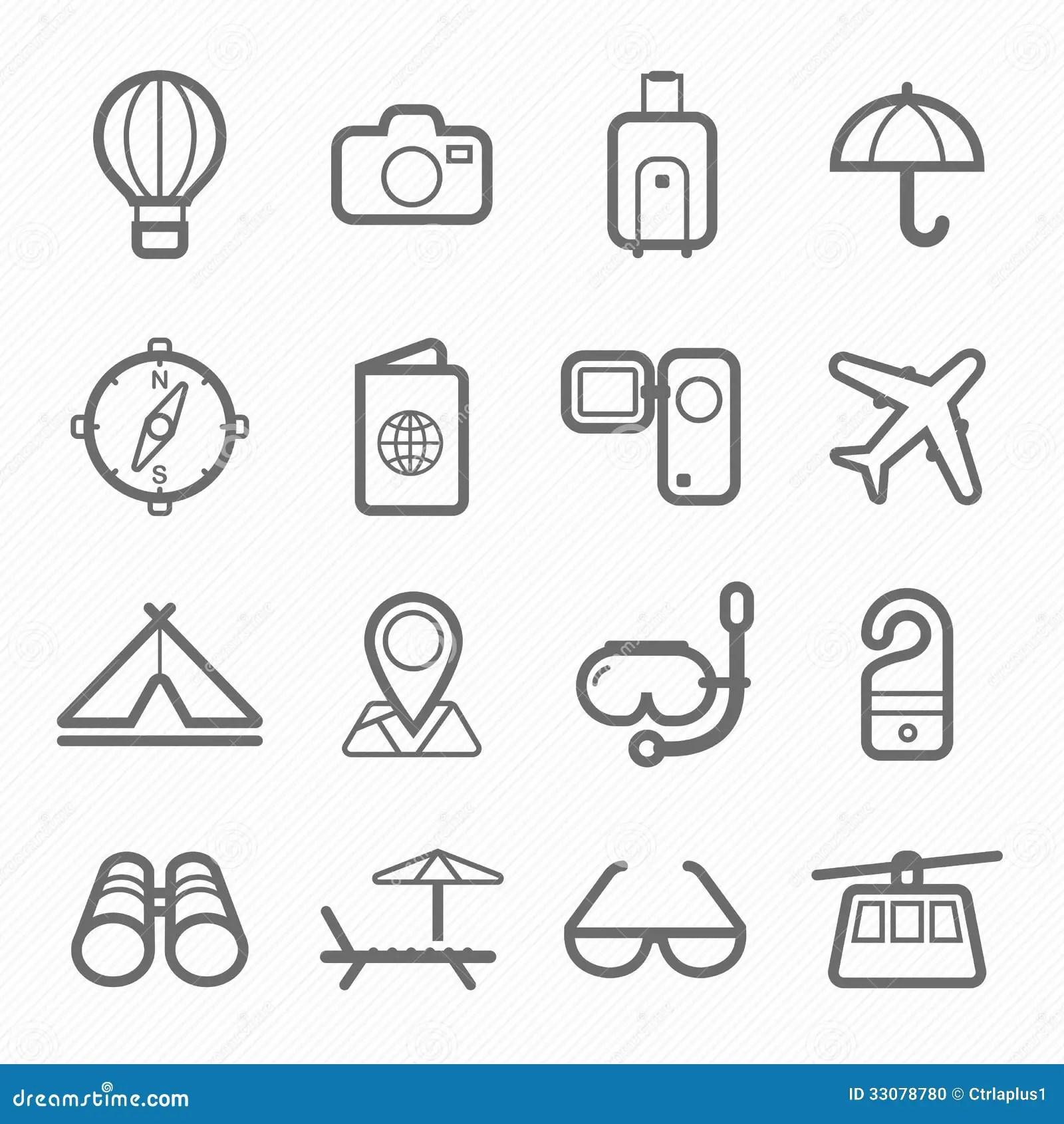 Ligne Ensemble De Symbole De Voyage D Icone Illustration