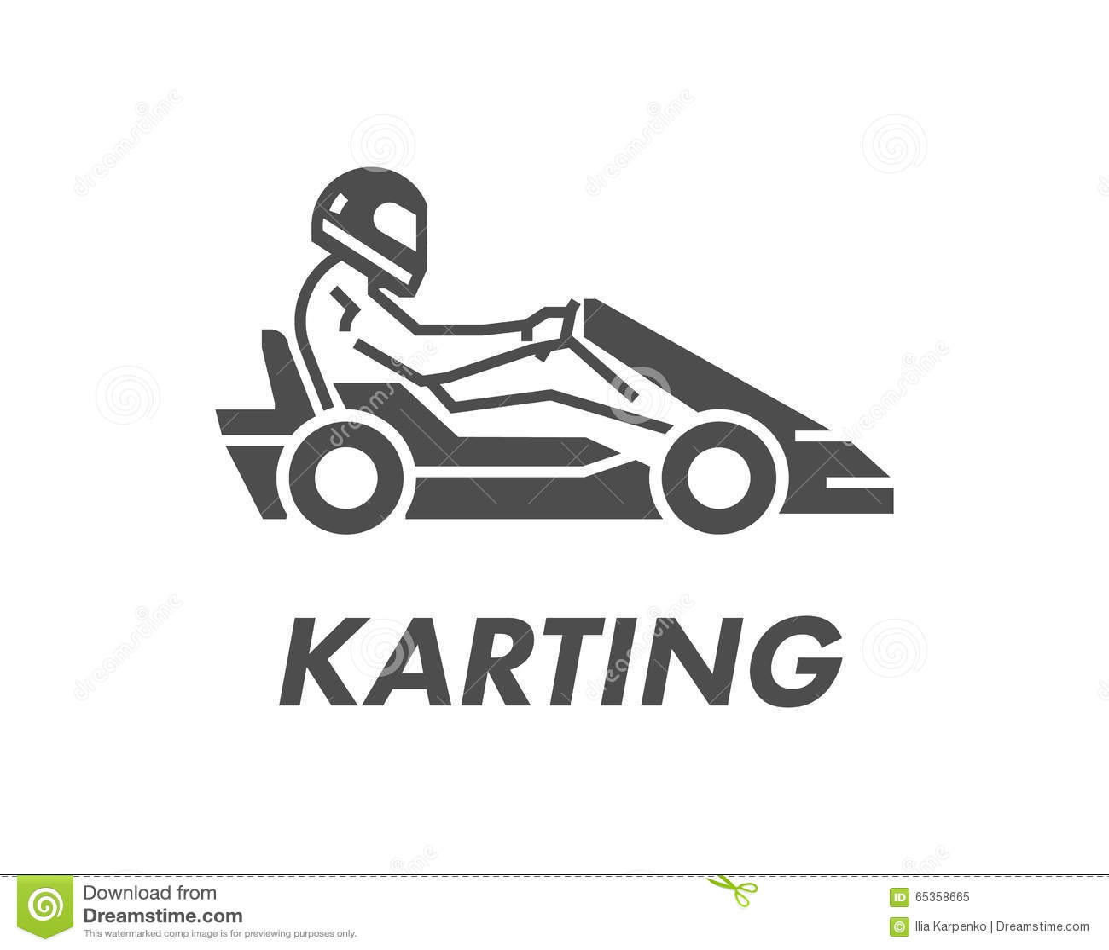 Ligne Et Logo Et Symbole Karting Plats La Silhouette