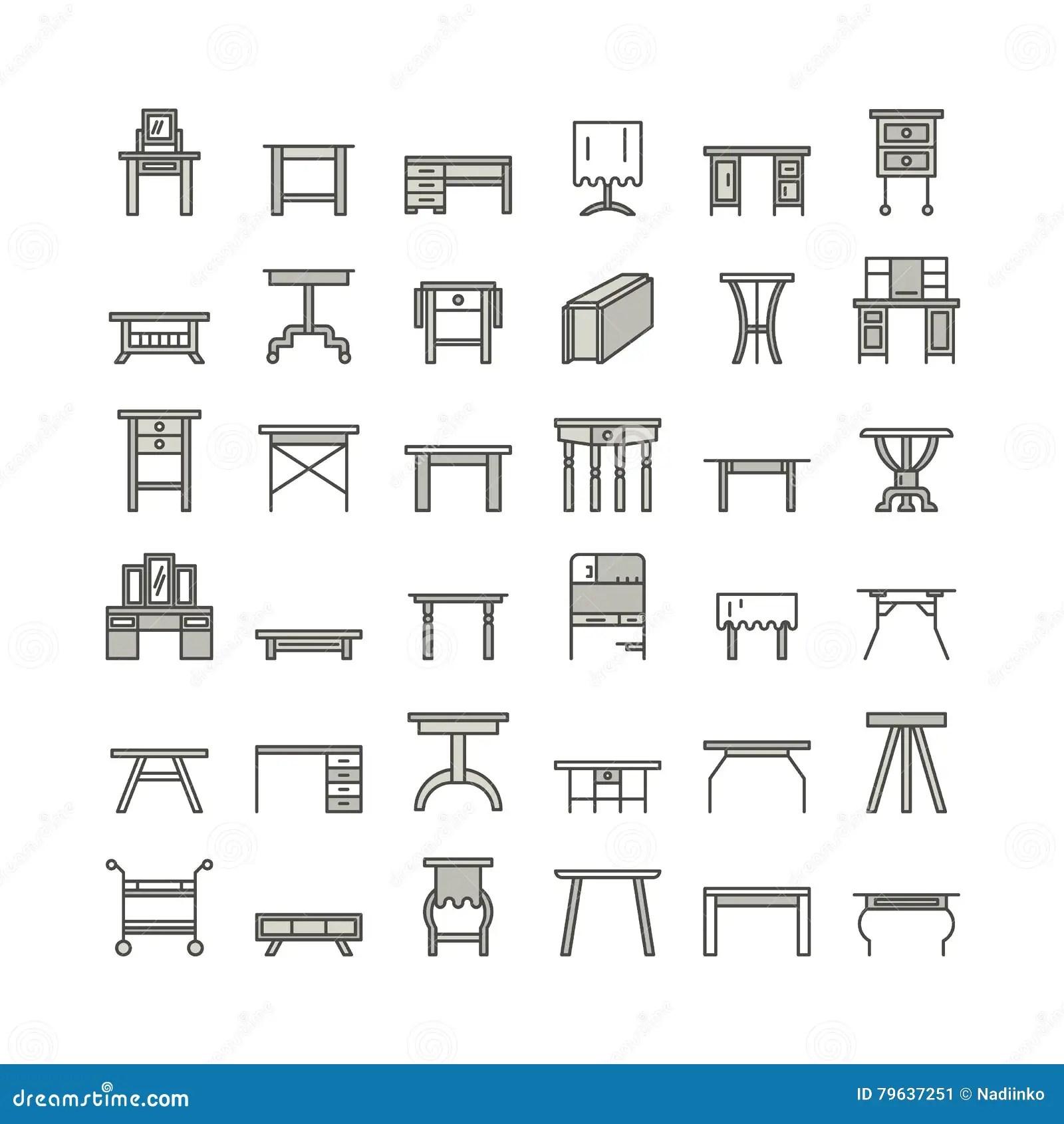 Ligne Icones Symboles De Meubles De Vecteur De Table