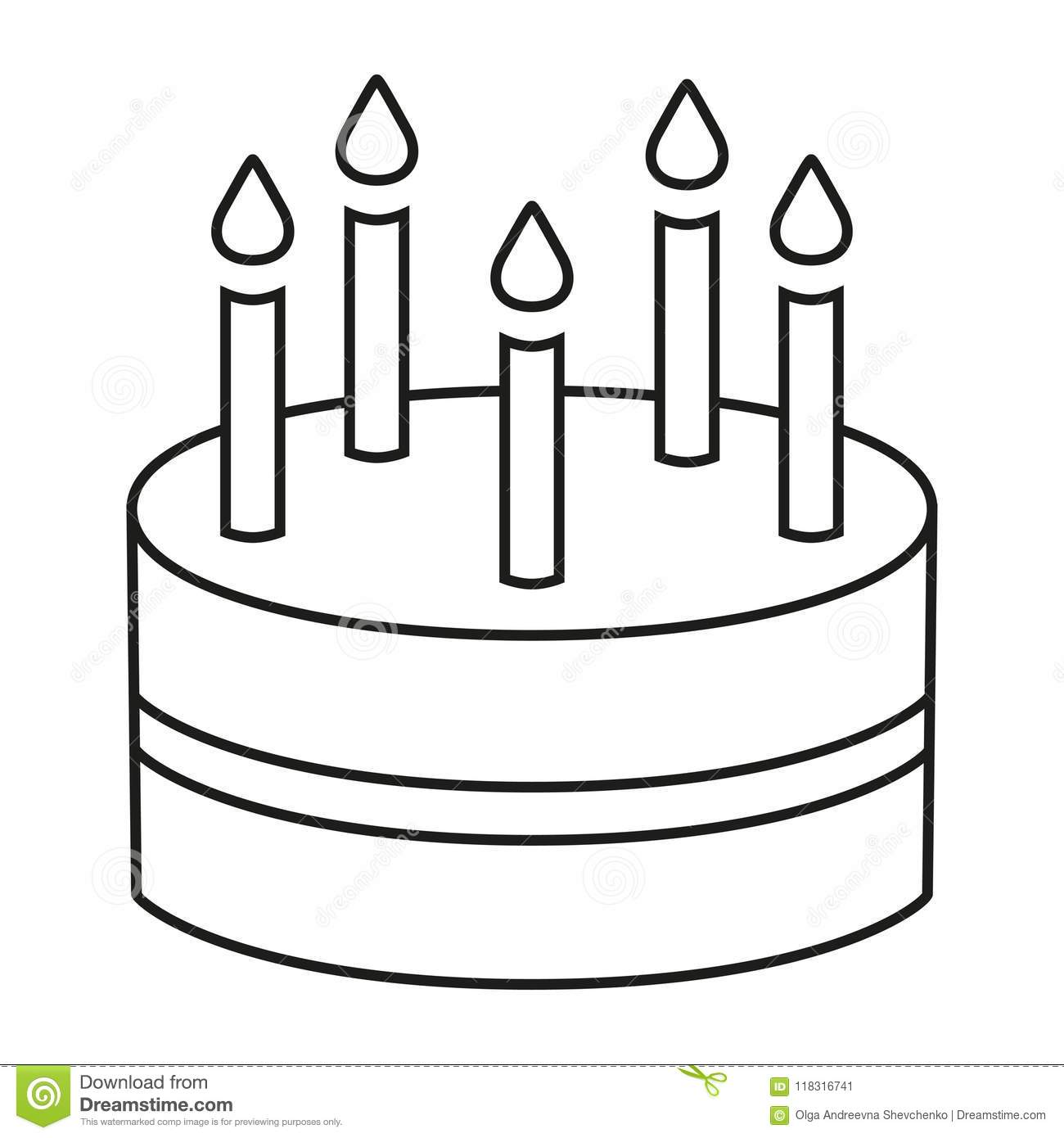 Line Art Black And White Birthday Cake 5 Candles Stock