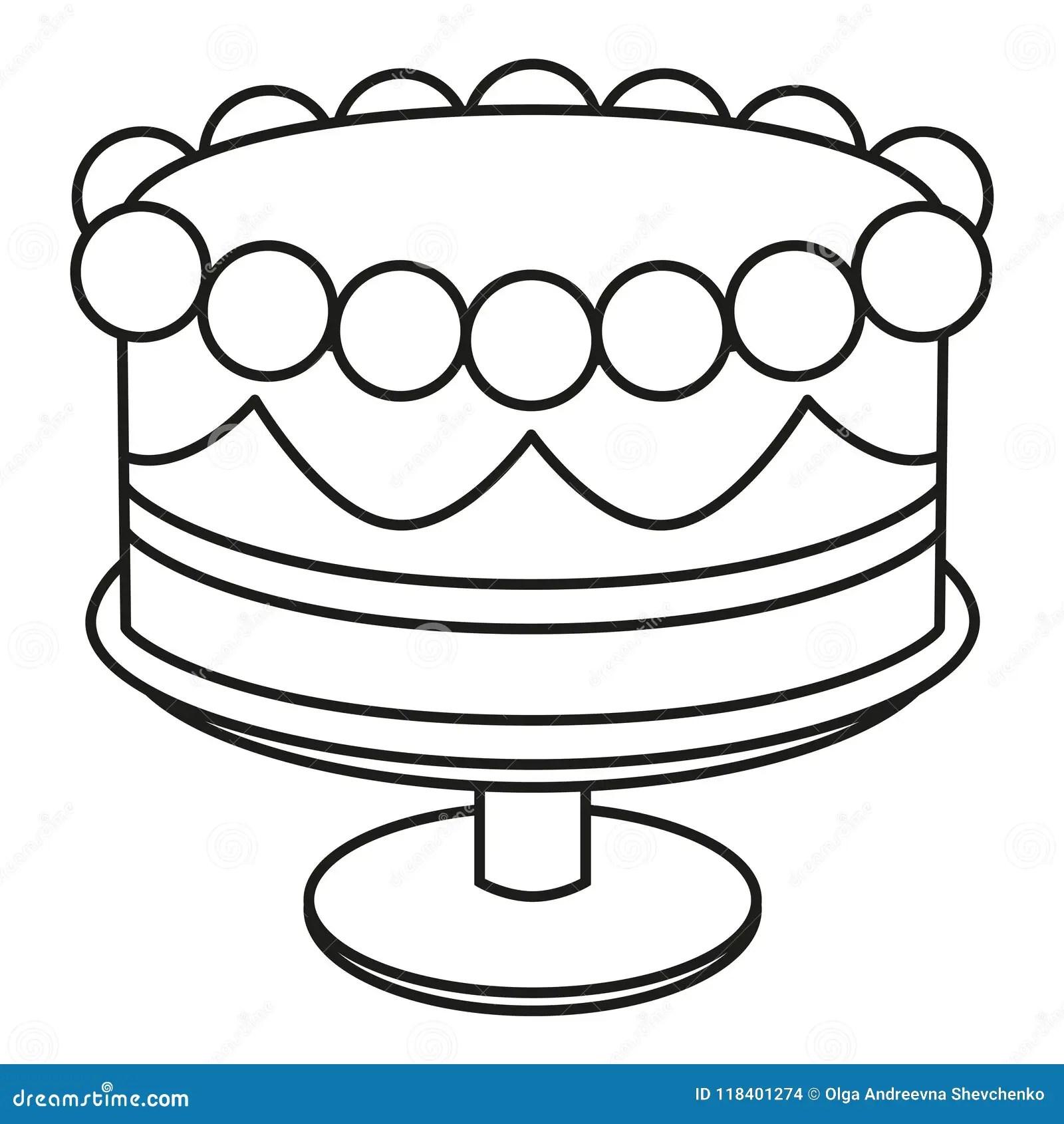 Line Art Black And White Birthday Cake On Stand Stock