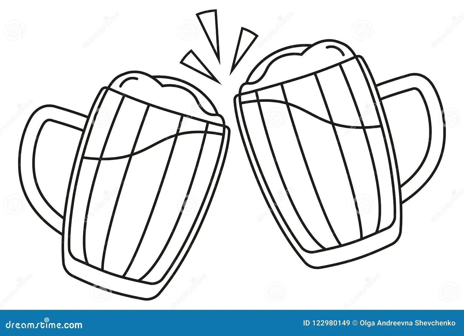 Line Art Black And White Two Beer Mug Stock Vector