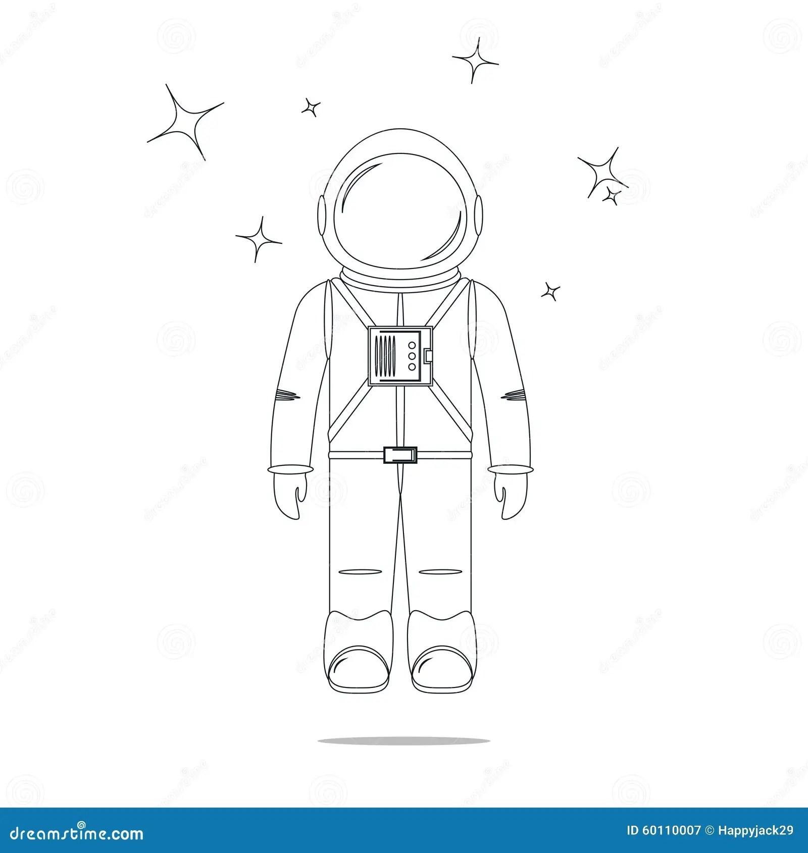 Astronaut Line Design Royalty Free Cartoon